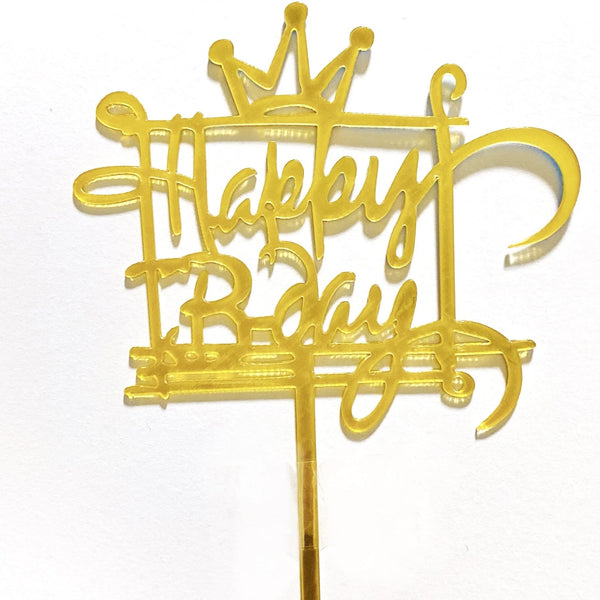 Gold Crown Acrylic Happy Birthday Topper