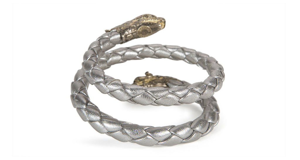 Vintage 1960's Leather and Sterling Snake Cuff Bracelet, Pewter