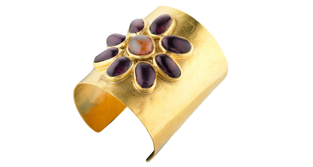 Gilt Cuff Bracelet with Purple & Amber Poured Glass Flower