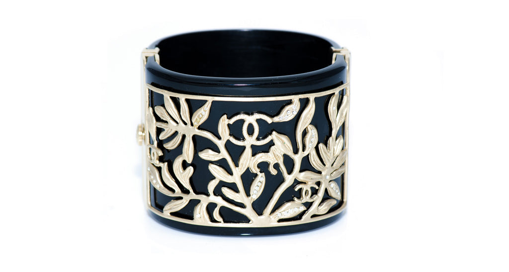 Black Enamel Bracelet with Intricate Gold Detailing, Strass & CC Logos