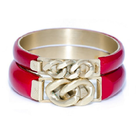 Red Calfskin & Metallic Chain Bangle Bracelets