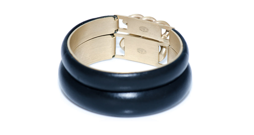 Black Calfskin & Metallic Chain Bangle Bracelets