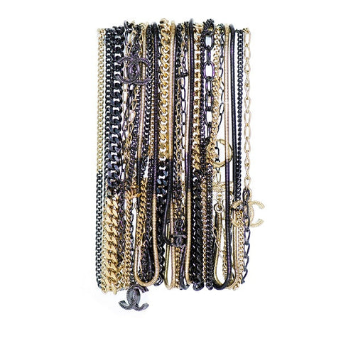 Black & Gold Mutli-Layer Chain Bracelet with Dangling Interlocked CCs