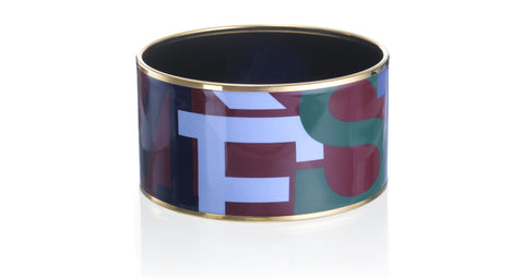 Hermès 'Capitales' Extra Wide Enamel Bangle Bracelet, Gold