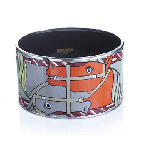 'Quadrige' Extra Wide Enamel Bangle Bracelet, Silver