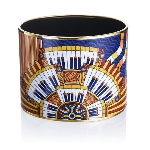 Hermès 'Point d'Orgue' Mega Enamel Bangle Bracelet, Gold