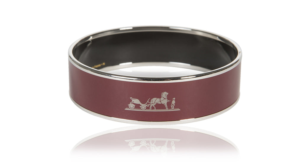 Wide Silver Enamel Bangle Bracelet in Burgundy with Carriage / Caleche, Size 70