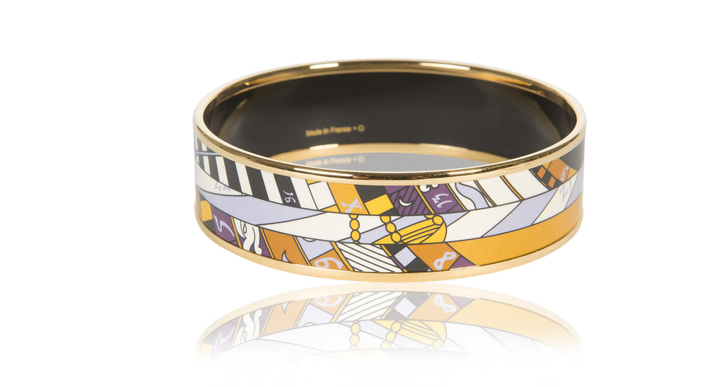 Wide Gold Enamel Bangle Bracelet, 'Astrologie Nouvelle' Size 65