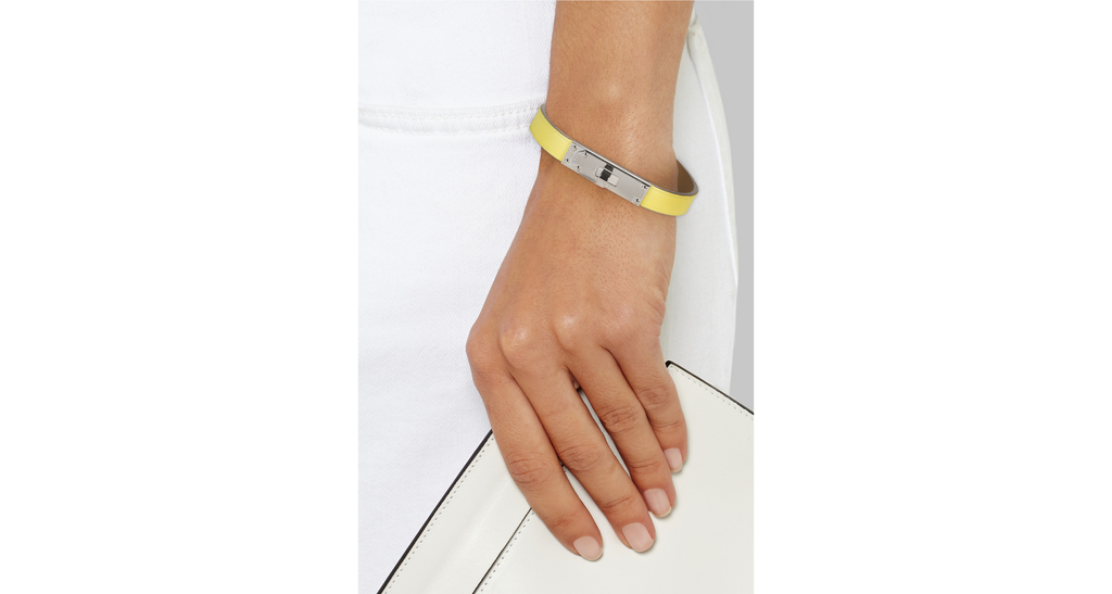 Yellow Calf Leather Micro Kelly Bracelet, Size S