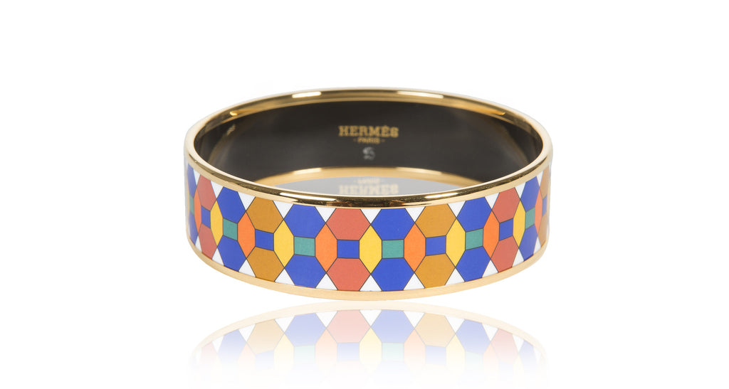Wide Gold Enamel Bangle Bracelet, Multicolor Mosaic, Size 65