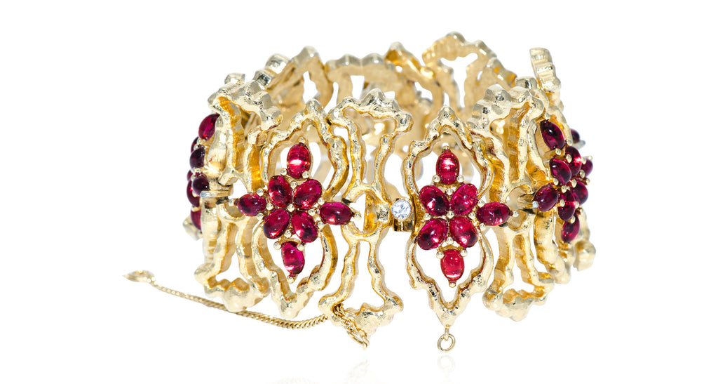 Gilt Freeform Link Bracelet with Maltese Cross Pattern of Ruby Cabochons, Circa 1975