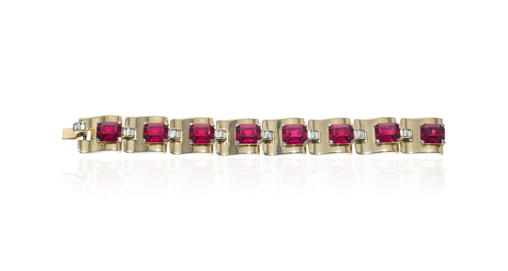 Ruby Paste Link Bracelet with Diamond Paste Connectors, Circa 1935