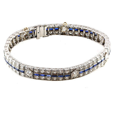 Estate Timeless Sapphire & Diamond Art Deco Bracelet