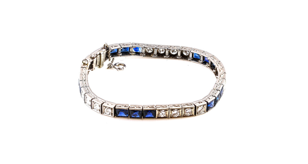 Estate Classic Sapphire & Old European Cut Diamond Line Bracelet