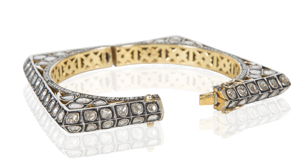 Rough Cut Diamond & Gold 'Square' Bangle, 10.42 Carats