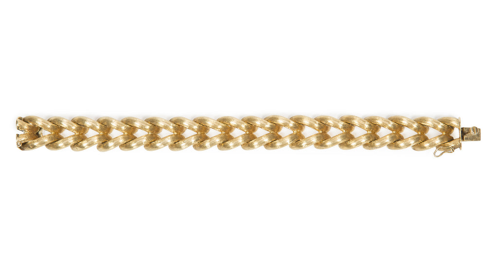 Vintage 18K Yellow Gold Cable Link Rope Bracelet, Made in Italy