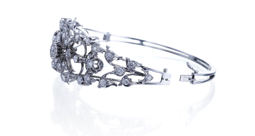 Estate Diamond Spray Bangle Bracelet