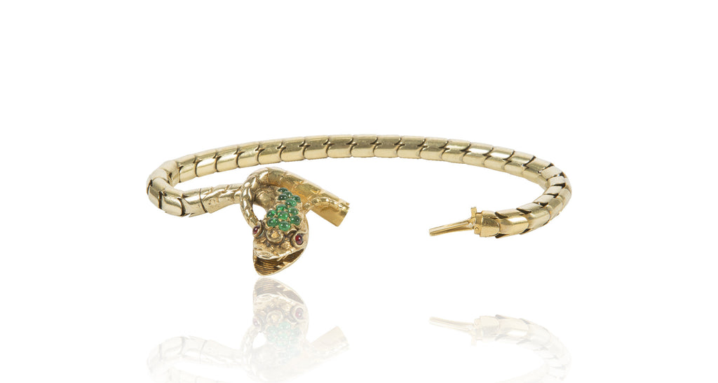 Antique Victorian Era 18K Gold Garnet Emerald Snake Serpent Bracelet