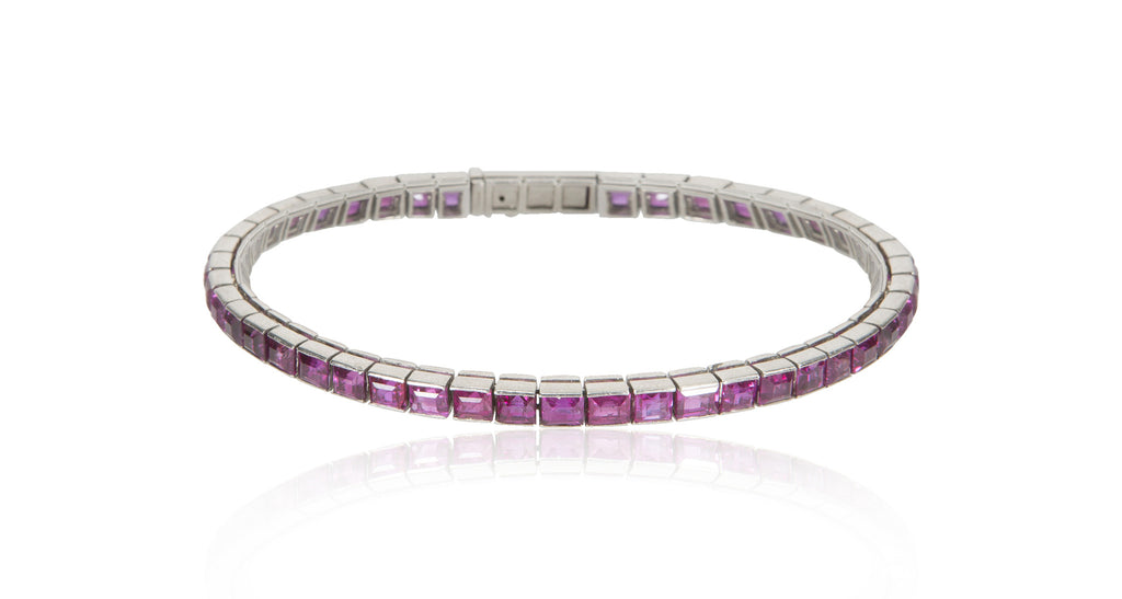 Art Deco Natural Pink Ruby & Platinum Eternity Tennis Bracelet