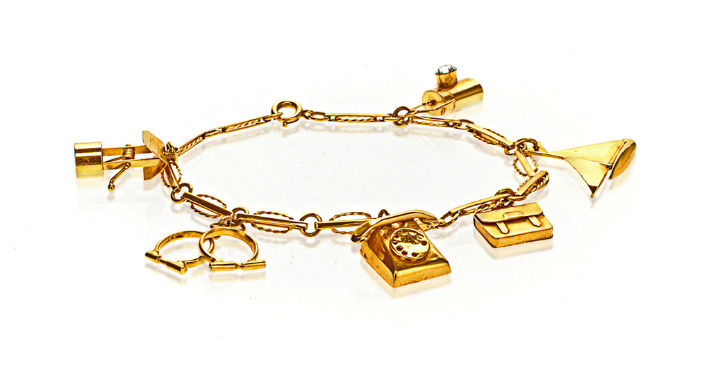 English Yellow Gold Charm Bracelet with 6 Charms