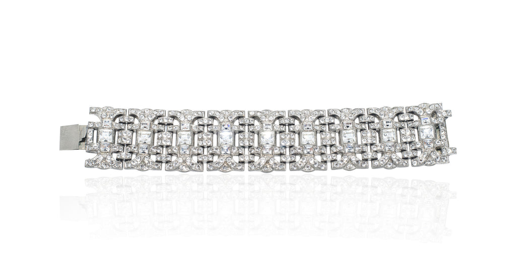 Art Deco Arched Panel Clear Paste & Rhodium Plated Bracelet, Circa 1925