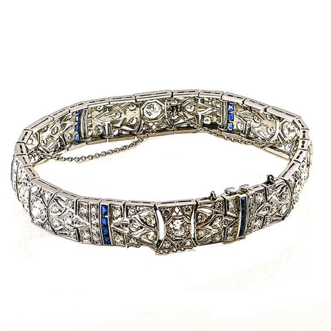 Estate Art Deco Diamond & Synthetic Sapphire Bracelet