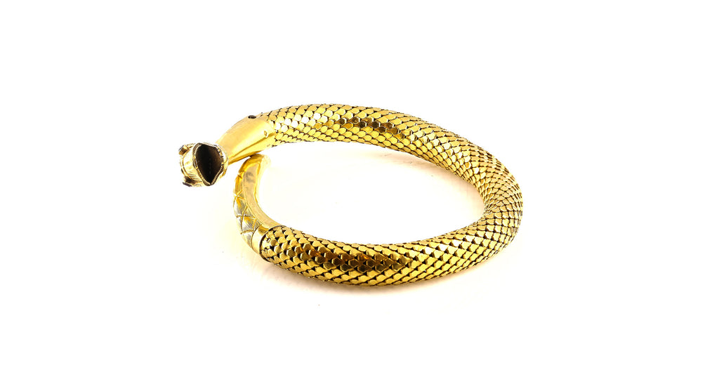 Estate French Antique Yellow Gold & Ruby Snake Bangle Bracelet