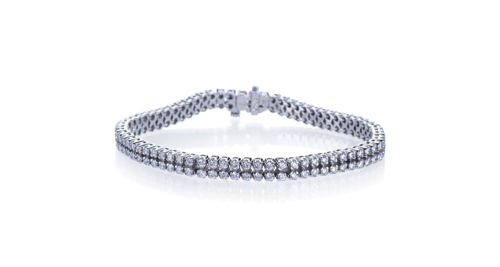 Estate Twin-Strand Diamond Tennis Bracelet