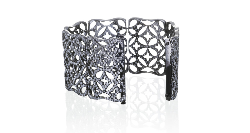 Estate Hinged Lattice Diamond Gate Bracelet