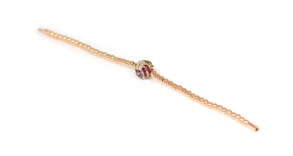 Rose Gold Diamond & Gemstone Monkey's Fist Bracelet