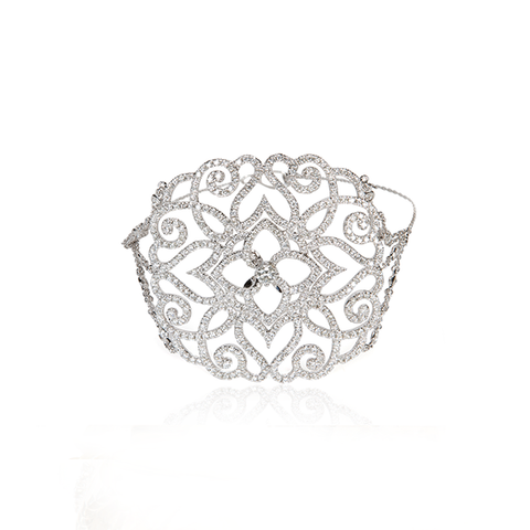 Lotus Flower Diamond Medallion & White Gold Station Bracelet