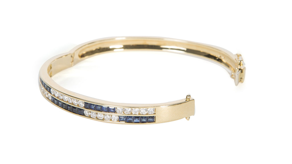 White Diamond and Blue Sapphire Checkerboard Bracelet