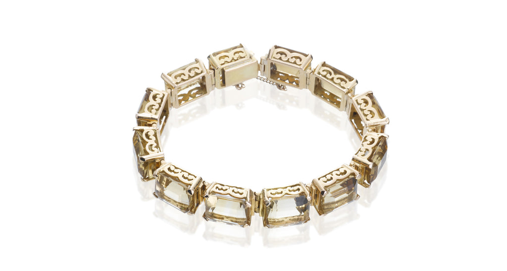 Estate Vintage Citrine & Gold Bracelet