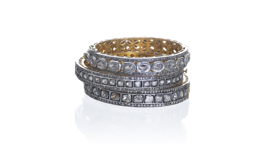 Estate Rough-Cut Diamond Bangle Bracelets (Set of 3)