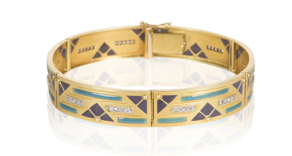 Art Deco French Gold & Diamond Bracelet