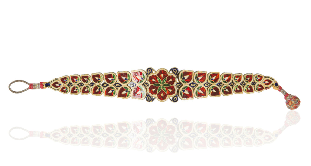 1930s Indian Gold, Ruby, Diamond & Pearl Floral Bracelet