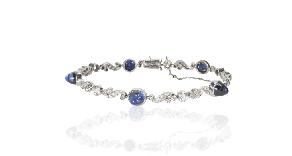 Art Deco Untreated Sapphire & Diamond Bracelet