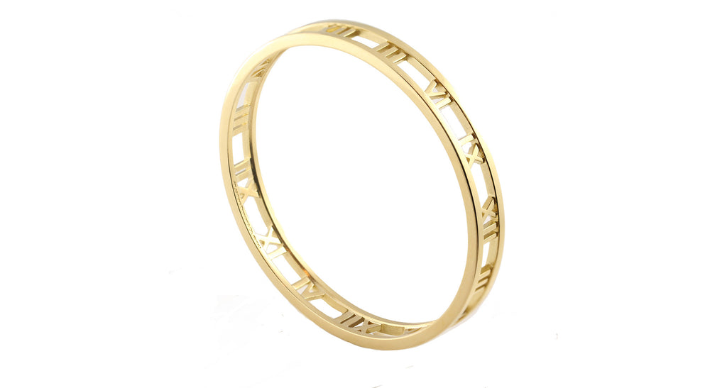 Tiffany & Co 'Atlas' Collection 18K Gold Roman Numeral Bangle Bracelet