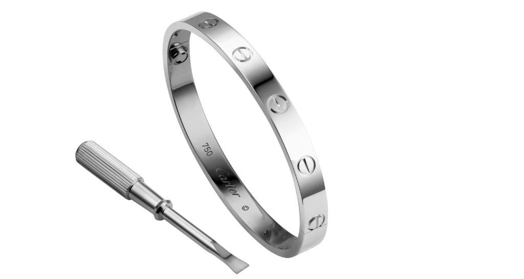 LOVE Bracelet, White Gold Bangle, size 15