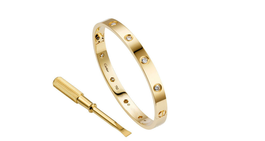LOVE Bracelet, Yellow Gold with 10 Diamonds, size 17 (with papers)
