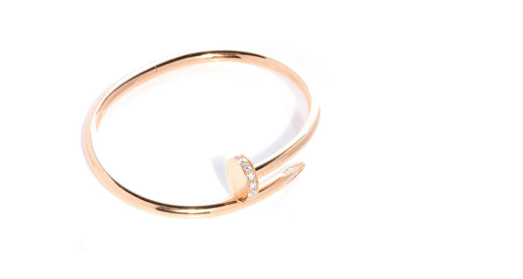 "Juste Un Clou ""Nail"" Bracelet in Rose Gold with Diamond Head, size 18 (with papers)"