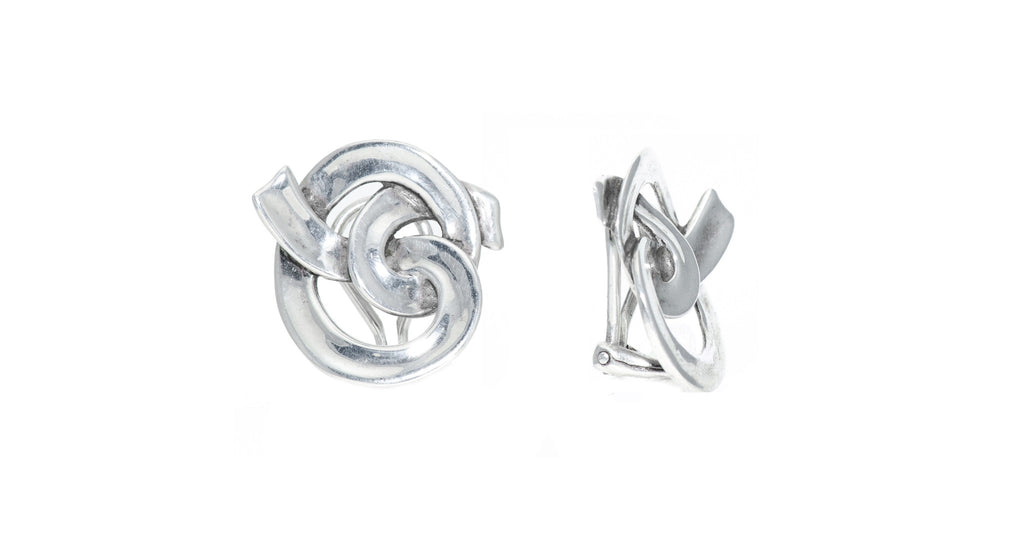 Silver Intertwining Knot Earrings
