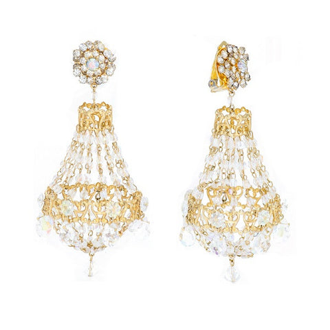 Iridescent Bead & Gilt Openwork Floret Chandelier Earrings, Circa 1990