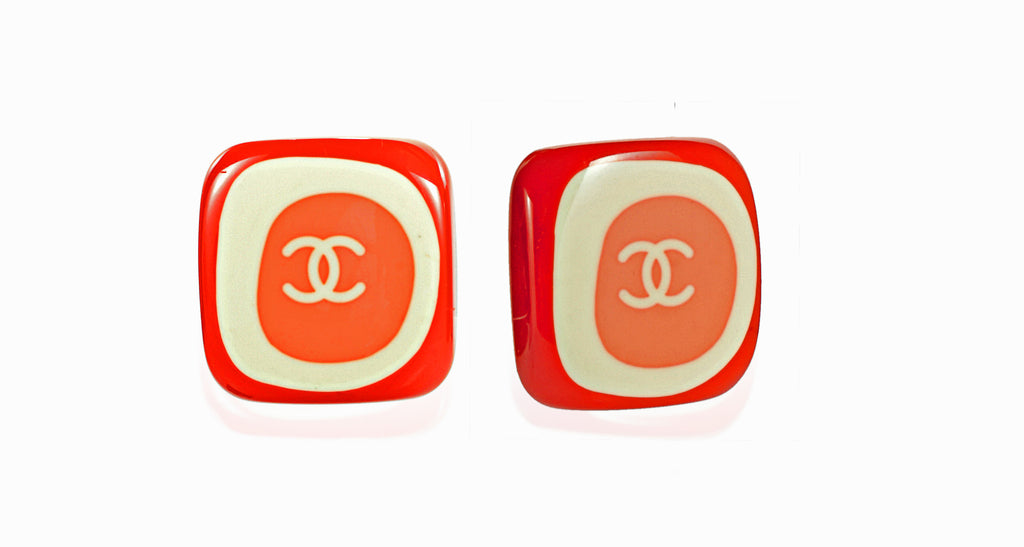 Red, Cream & Pink Acrylic Interlocking 'C' Chanel Logo Earrings