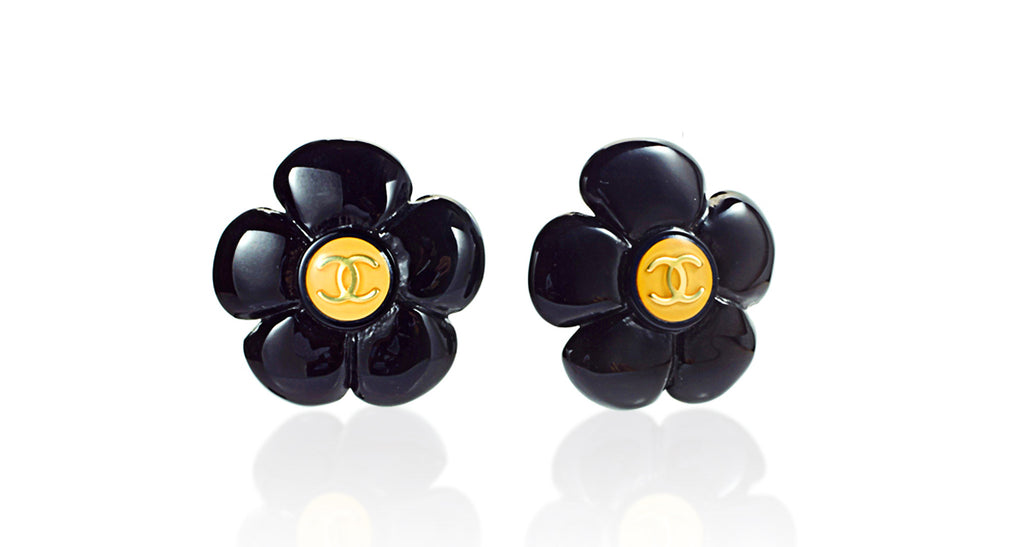 Black Acrylic Flower Earrings with Interlocking 'C' Chanel Logo Centers