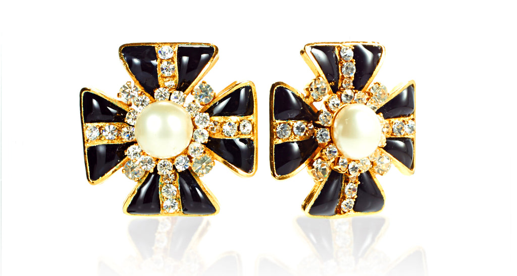 Black Glass Maltese Cross Earrings with Mabe Pearl Centers