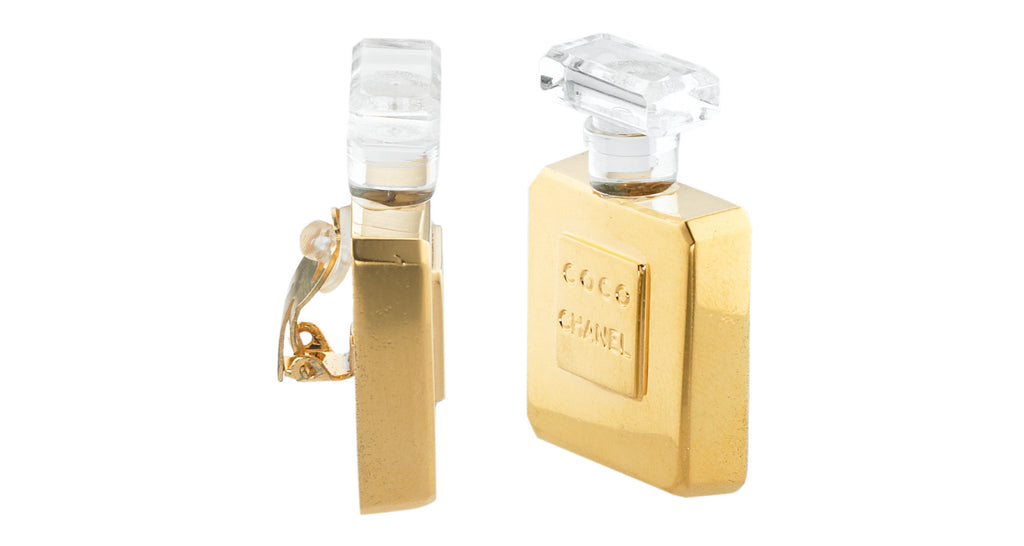 Gold Gilt & Crystal Acrylic 'Coco Chanel' Perfume Bottle Earrings