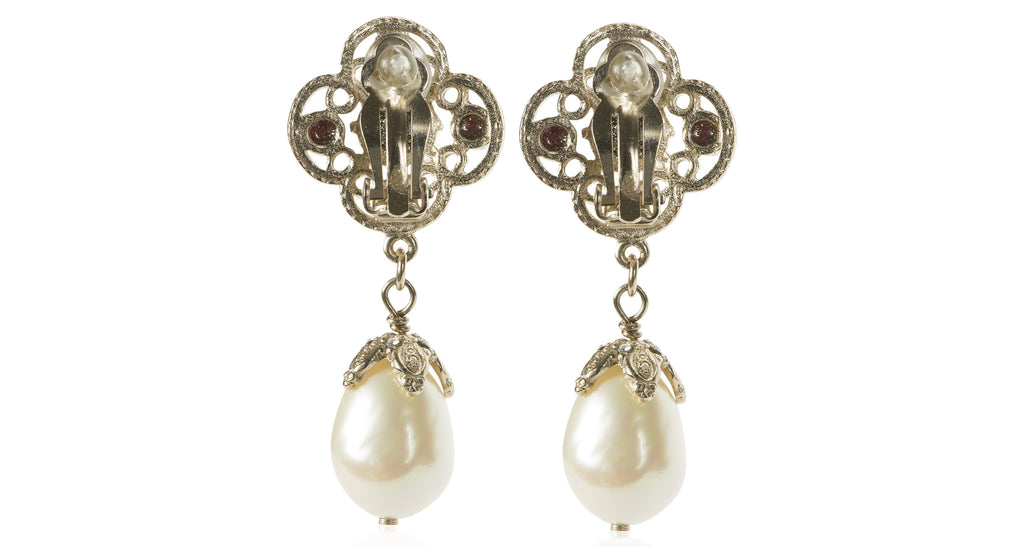 Baroque Pearl Drop Earrings with CC Logo