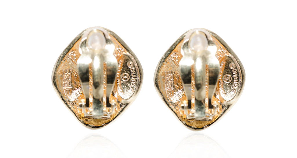 Quilted Gilt Diamond-Shape Earrings, Circa 1990