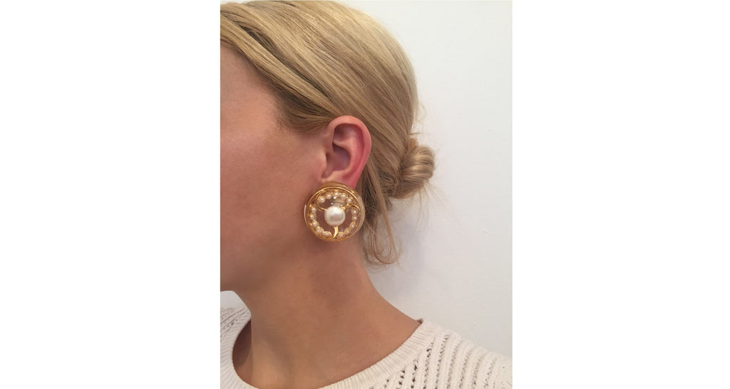Lucite, Gilt & Pearl Logo Stamped Earrings, Circa 1975
